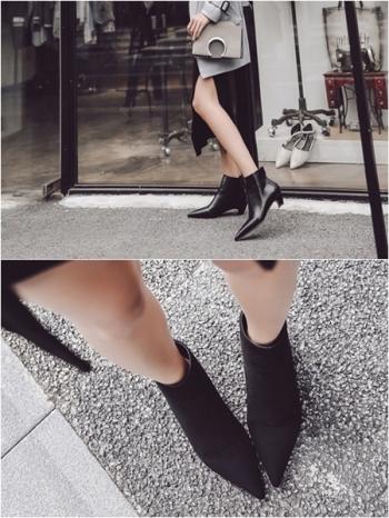 【Z415250】歐美街拍時尚內鋪保暖短絨毛尖頭鞋/踝靴/短靴/靴子-Notable