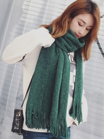 【Z434012】冬日必備款純色保暖仿羊絨大披肩/情侶/男女流蘇圍巾/披巾-Notable
