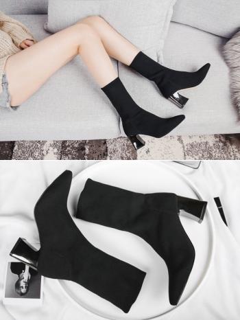 【Z415293】歐美時尚街拍針織彈力修飾腿型顯瘦襪靴/短靴/中筒靴-Autumn