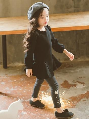 【Z420317】韓系時尚波浪圓裙小洋裝/毛呢長袖連身裙/大童/童裝-Ardour