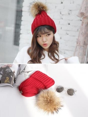 【Z417088】暖暖質感可愛大毛球加厚保暖針織帽/毛帽-Illusion