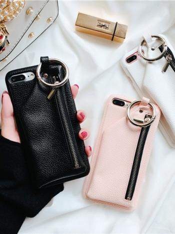 【Z437364】蘋果iphone 6/6s.6plus/6s plus.7/7plus.8/8plus 拉鍊零錢格設計皮質手機殼/硬殼-Fond