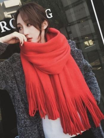 【Z434015】雙面撞色舒適柔軟保暖拉毛仿羊絨質感大披肩/流蘇圍巾/披巾-Choice