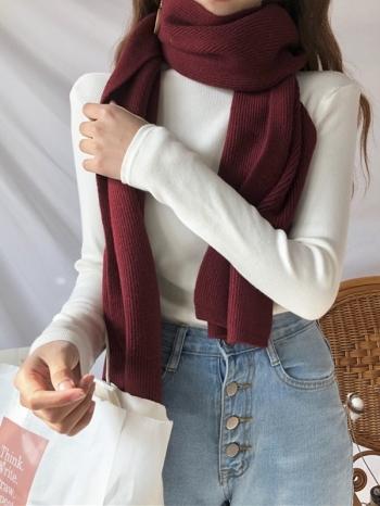 【Z434018】秋冬必備百搭純色保暖仿羊絨質感圍巾-Gentle