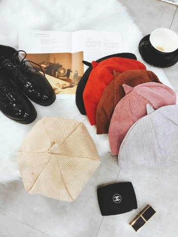 【Z417094】歐美街拍百搭純色款燈芯絨南瓜帽/畫家帽/報童帽/貝雷帽/畫家帽-Tiptop
