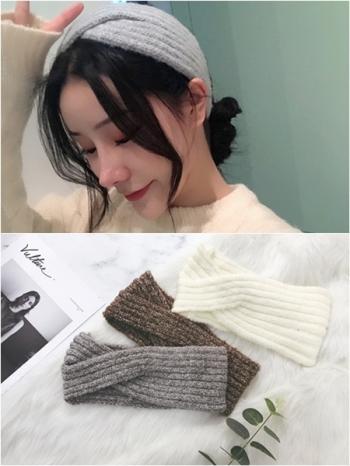 【Z430217】韓妞街拍風時尚交叉造型厚款針織髮帶/髮飾-Firstrate
