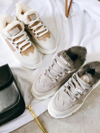 【Z415316】韓妞街拍拼接撞色造型內裏鋪保暖絨毛慢跑鞋/休閒鞋/運動鞋-Summit