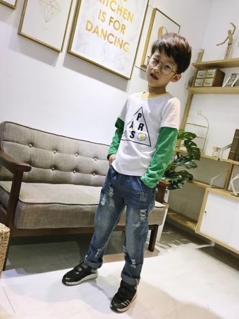 【Z528003】休閒風字母造型下擺開叉長袖上衣/長T/T恤/大童/童裝-Amused