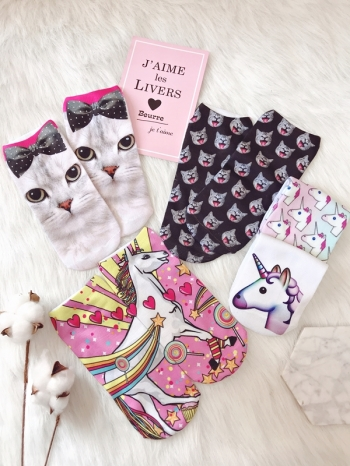【Z515007】數碼3D印花獨角獸貓咪圖案船型襪/隱形襪/短襪-Aptness