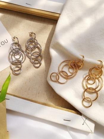 【Z530006】復古幾何纏繞圈環造型耳飾/耳針式耳環-Aptness