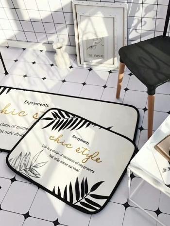 【Z534011】(小)綠植風雨林生活圖案短絨毛居家起居室地墊/地毯/腳踏墊-Botanical