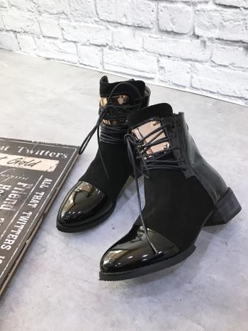 【Z515016】個性金屬片裝飾造型便脫拉鍊設計短靴/機車靴/軍靴-Recent