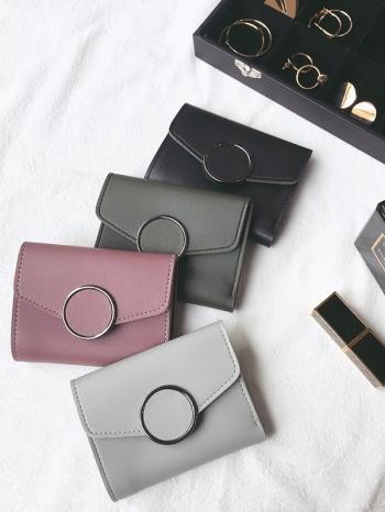 【Z516012】簡約圓釦信封包造型多夾層短夾/錢包/三摺皮夾-Neoteric