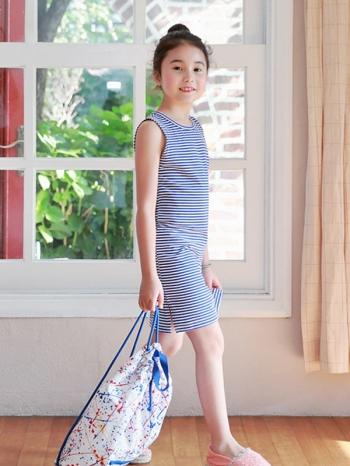 【Z520087】簡約條紋連身裙/背心裙/無袖洋裝/大童/童裝-Spry