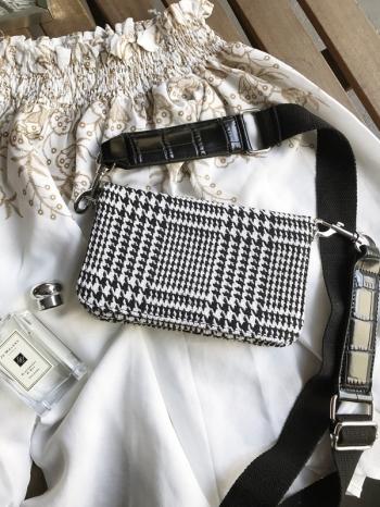【Z516006】時尚經典百搭款千鳥格紋造型側背包/手拿包/斜背包-Latterly