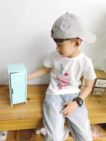 【Z521007】可愛冰淇淋圖案造型短袖上衣/T恤/短T/大童/童裝-Romantic