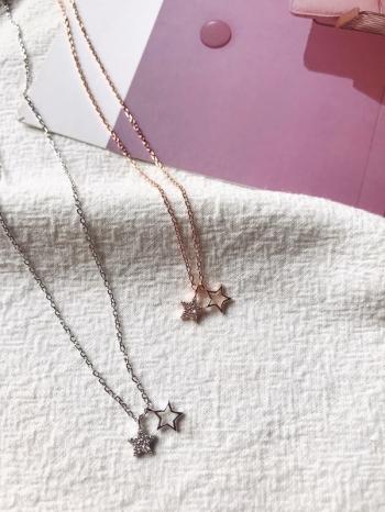 【Z530022】韓風氣質水鑽鑲嵌星星墜飾細鍊造型項鍊/鎖骨鍊-Finer