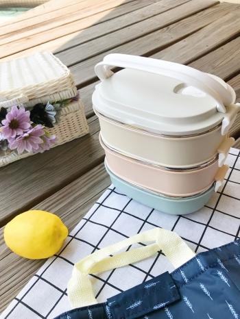 【Z538011】環保便攜提把三層設計便當盒/餐盒/飯盒/保鮮盒/野餐盒-Finer