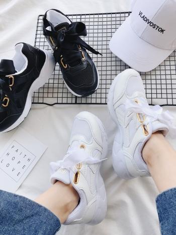 【Z515024】韓妞街拍金屬釦洞造型休閒鞋/運動鞋/慢跑鞋(附雙鞋帶)-Extremely