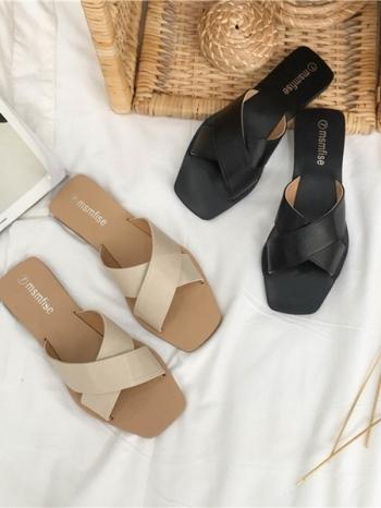 【Z515027】歐美風簡約交叉設計皮質涼拖鞋-Extremely