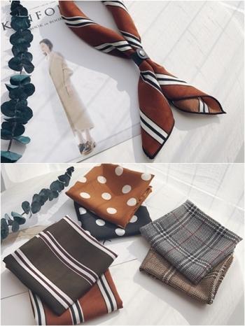 【Z530028】復古波點格紋圖樣皮釦設計領巾/方巾/絲巾-Extremely