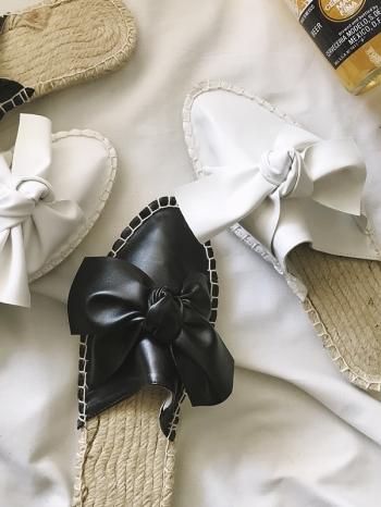 【Z515029】歐美風大蝴蝶結造型草編平底懶人鞋/涼鞋/沙灘鞋-Bonzer