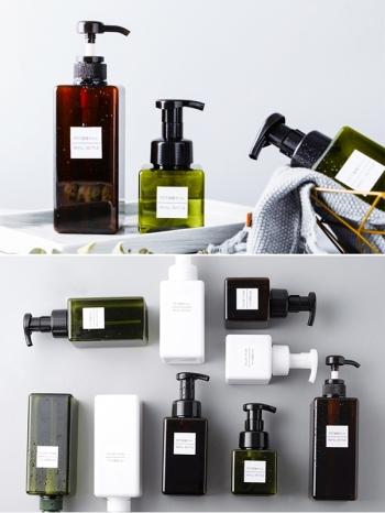 【Z533075】(650ml)無印風方形按壓式沐浴乳洗髮精替換瓶/分裝瓶-Chic