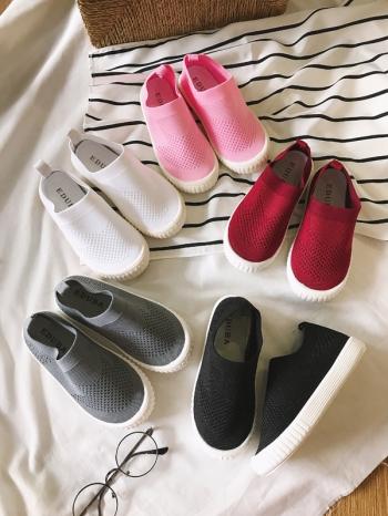 【Z525005】簡約純色彈性針織套腳造型休閒鞋/懶人鞋/便鞋/童鞋-May