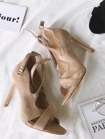 【Z515034】時尚歐美風鏤空顯瘦8字繞踝造型細跟鞋/高跟鞋-Elegent
