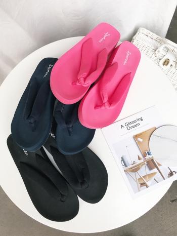 【Z515048】純色厚底造型夾腳拖/拖鞋/人字拖/沙灘鞋-Bright