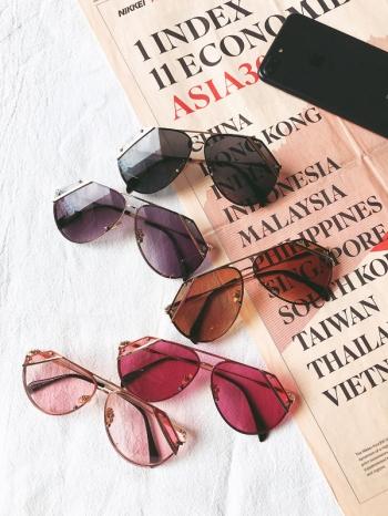 【Z531017】削邊金屬大框眼鏡/造型眼鏡/墨鏡/太陽眼鏡-Bright