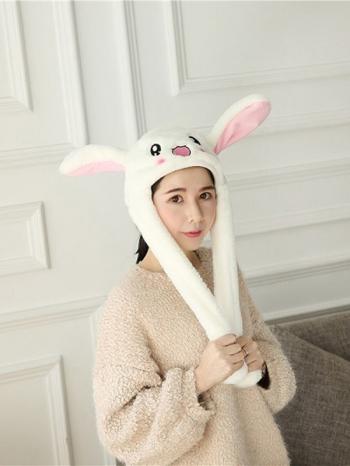 【Z536038】趣味兔子耳朵會動的絨毛帽/情侶帽/兔子帽/氣囊帽-Bright