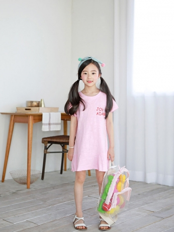 【Z520214】(兒童款)簡約字母印花運動洋裝/連身裙/大童/童裝/親子裝-Enjoy