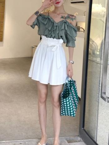 【Z514022】純色綁帶高腰花苞裙/波浪裙/短裙-Agnes