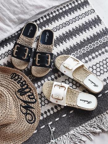 【Z515051】皮格方釦造型草編平底懶人鞋/涼鞋/沙灘鞋-Agnes