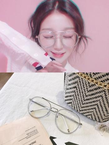 【Z531021】潮流復古粗框透明眼鏡/造型眼鏡-Upbeat