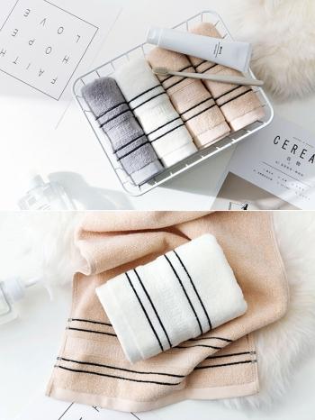 【Z533135】清新色系線條純棉毛巾/擦手巾/長巾(三色一組售)-Luxury