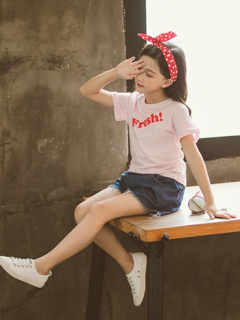 【Z520296】簡約英文字母套裝/短袖上衣/短T/短褲/單寧褲/大童/童裝-Blanche