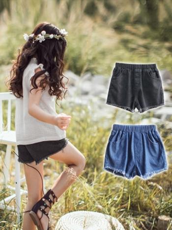 【Z524037】經典牛仔刷破短褲/休閒褲/單寧褲/大童/童裝-Blanche