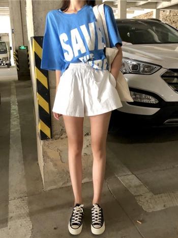 【Z512078】腰際鬆緊綁帶闊腿褲/短褲-Amity