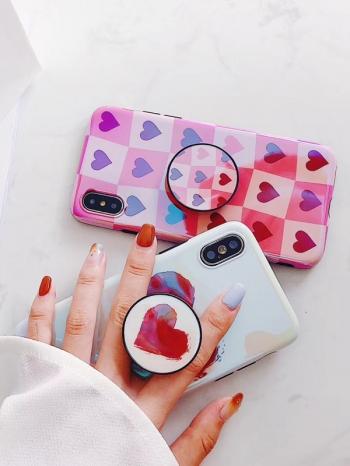 【Z537082】蘋果iphone 6/6s.6plus/6s plus.7/7plus.8/8plus.X 藍光愛心+伸縮支架造型手機殼-Amity