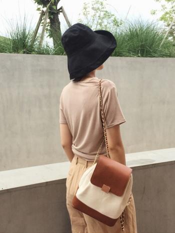 【Z516057】帆布拼色鏈條背包/雙肩背包/後背包-Cherry