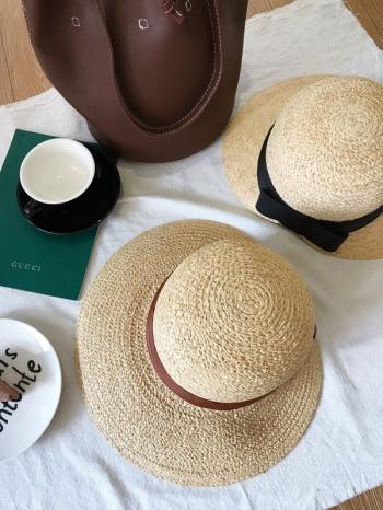 【Z517029】圓頂蝴蝶結寬帽簷編織帽/草編帽/草帽/遮陽帽/沙灘帽-Cherry