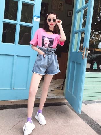 【Z512099】花苞高腰寬鬆丹寧短褲/牛仔短褲/熱褲/休閒褲-Ingrid