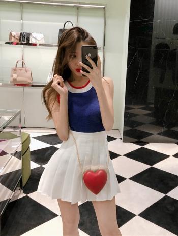 【Z514057】純白學院高腰百摺裙/A字裙/迷你裙/短裙/褲裙-Clara