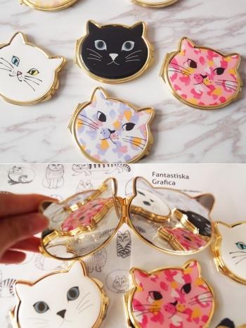 【Z536042】可愛貓咪造型隨身鏡/化妝鏡/小鏡子-Aesthetic