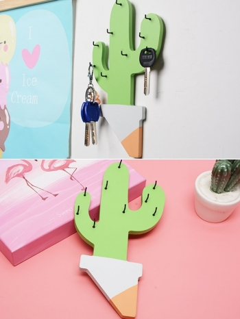 【Z532182】木質仙人掌造型鑰匙掛/鑰匙收納/玄關牆面裝飾-Deluxe