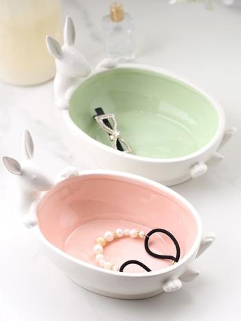 【Z532185】創意立體兔子造型陶瓷盤/收納盤/首飾盤/糖果盤-Deluxe