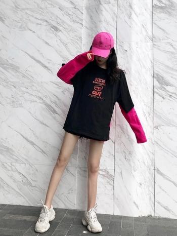 【Z511342】超獨特短袖長袖拼接兩穿T恤/短袖上衣/長袖上衣-Glamorous