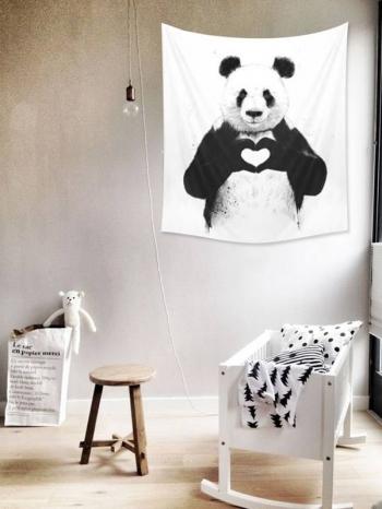 【Z533202】(小號)極簡插畫黑白風格掛布/掛畫/掛旗/桌布/牆面裝飾/拍攝道具-Lightly